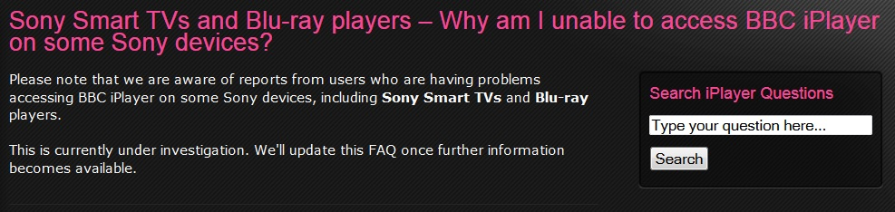 Bbc iplayer not working on smart tv