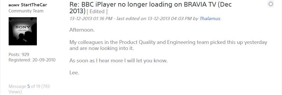 Solved: BBC iPlayer no longer loading on BRAVIA TV (Dec 20