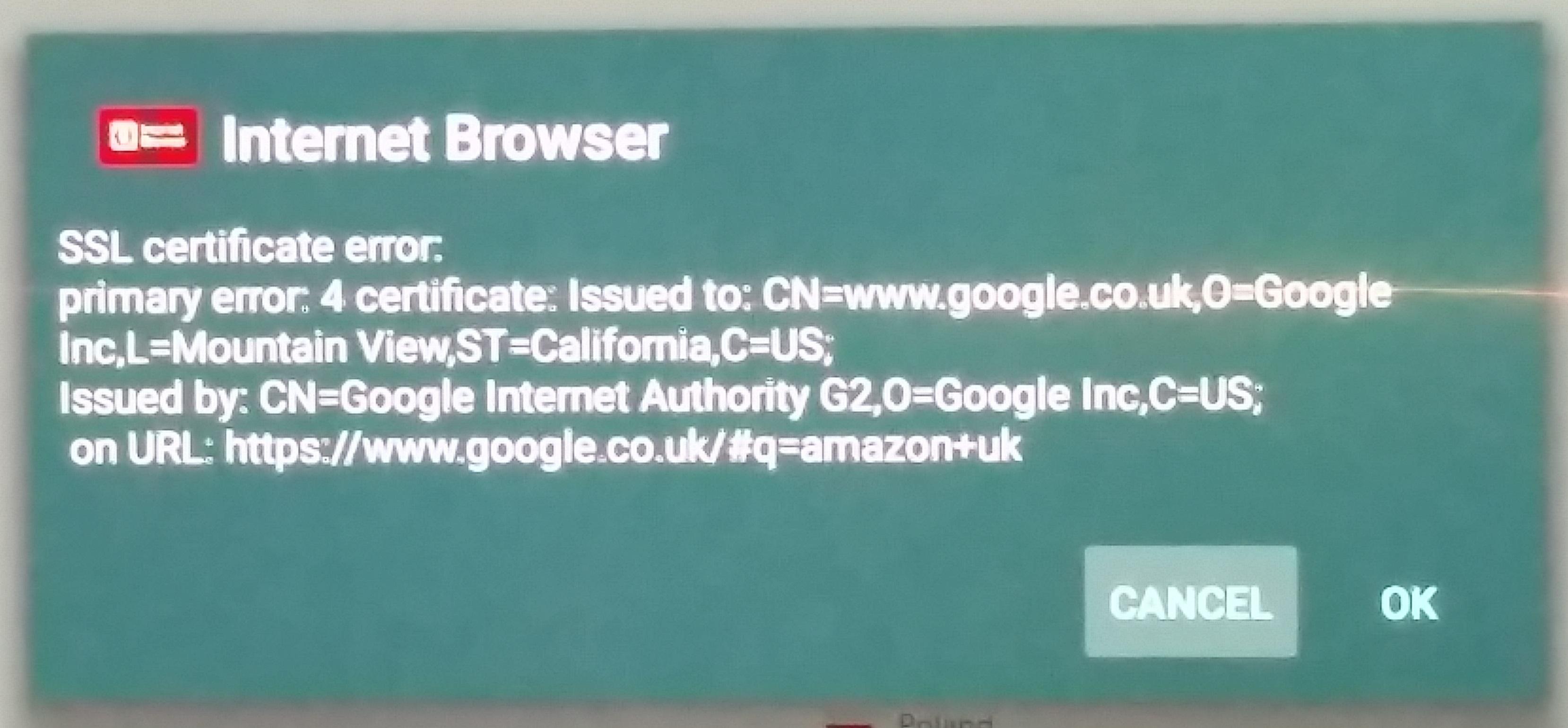 Opera Internet Browser Ssl Certificate Error Sony