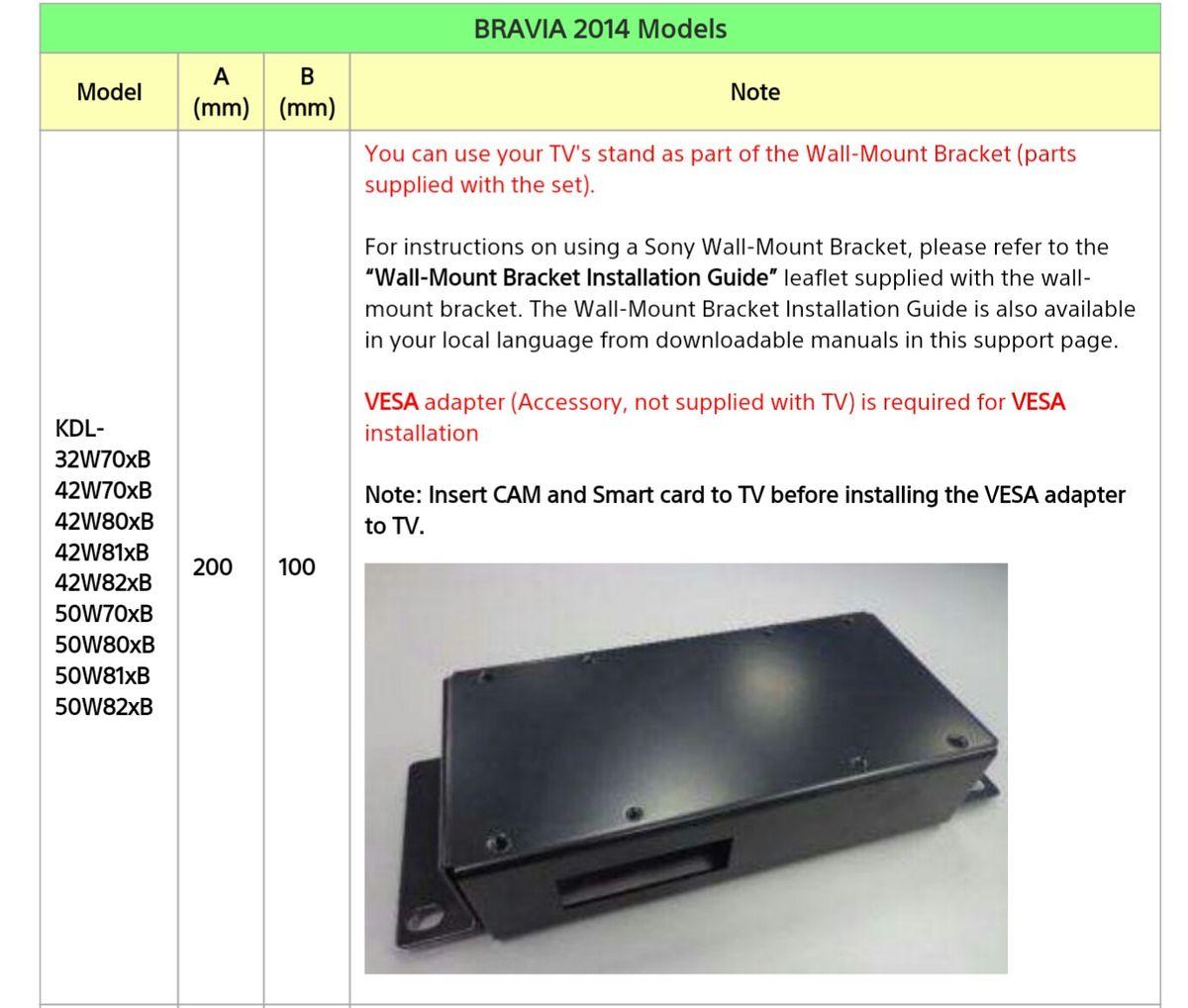 Kdl 42w705b Wall Mounting Brackets Sony