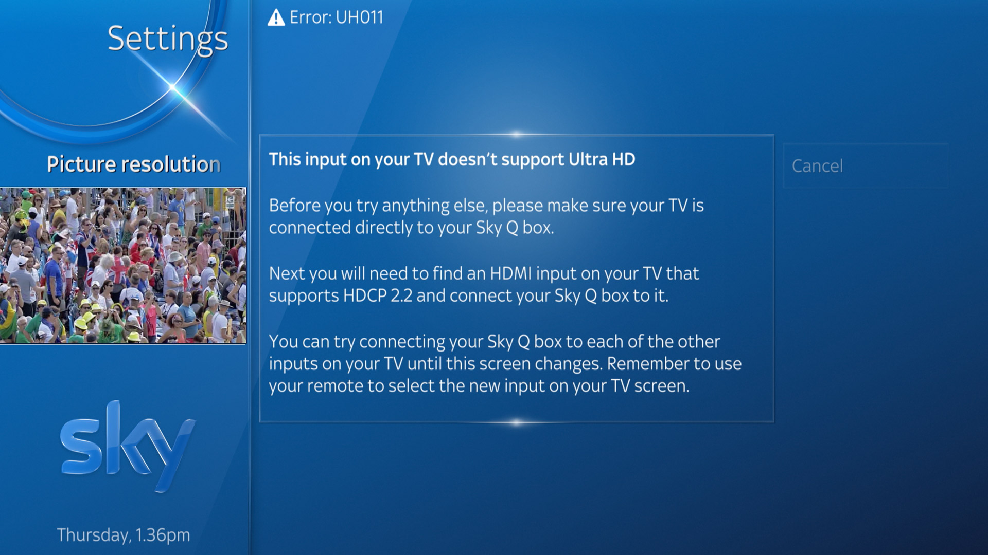 Solved Sony Kd 55x8505b Tv And Skyq 4k Uhd Not Working Sony