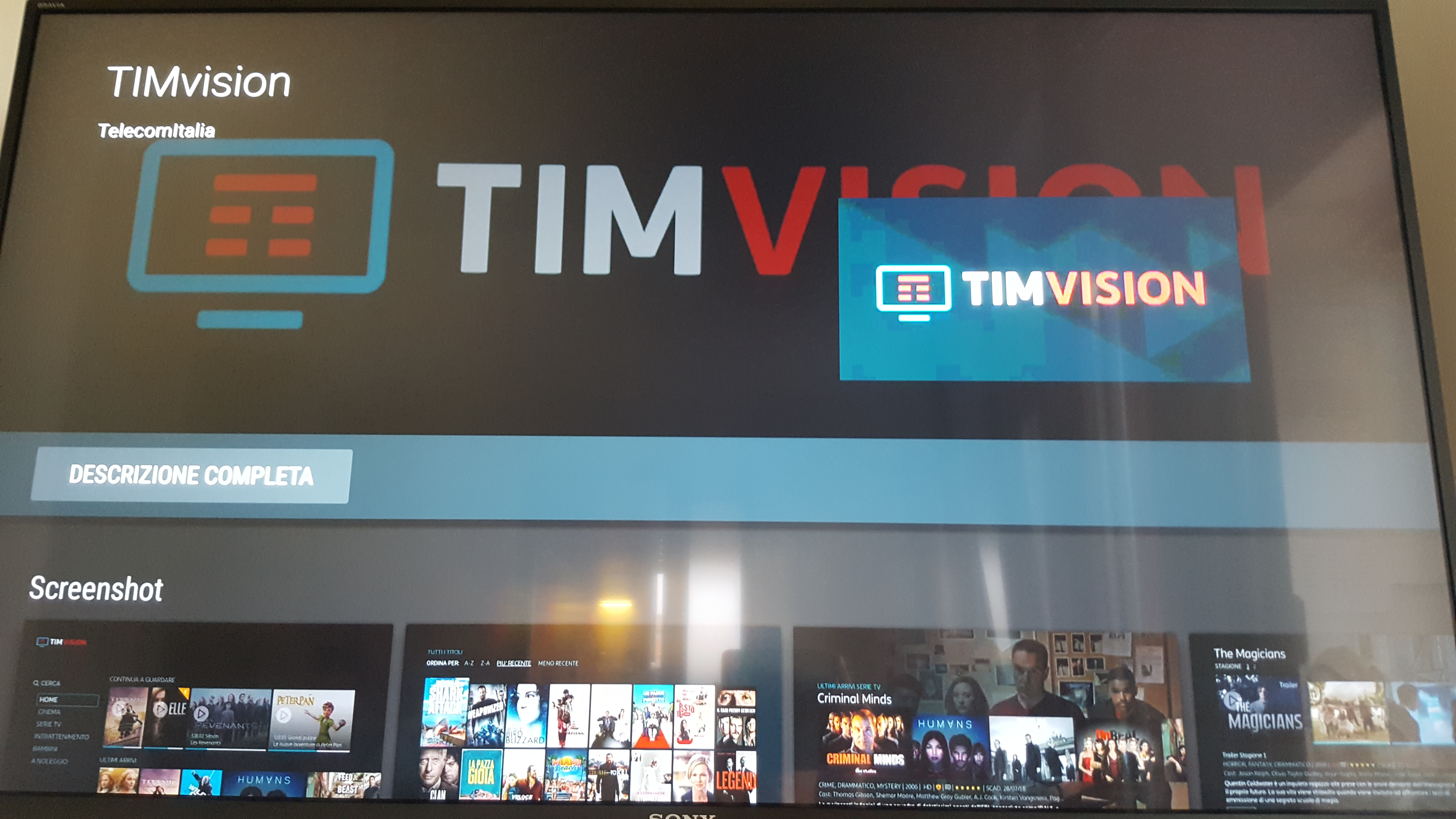 timvision su smart tv sony