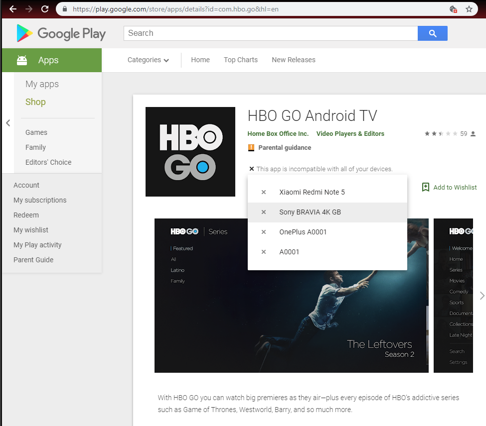 how to download hbo go app on sony smart tv